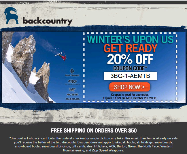 Expired and Not Verified Backcountry Gear Promo Codes & Offers. These offers have not been verified to work. They are either expired or are not currently valid.